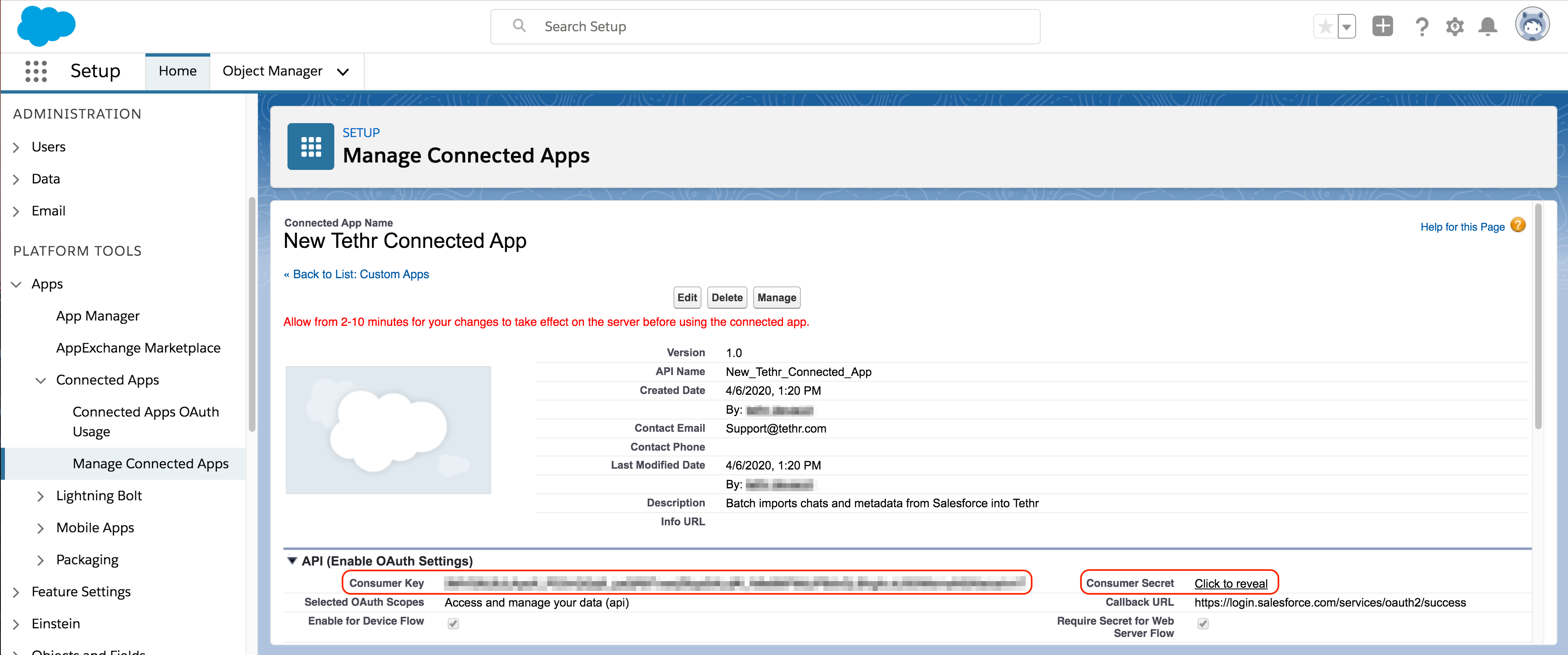 Select_Continue_to_create_your_new_Tethr_Connected_App_in_Salesforce_and_grab_the_credentials_you_ll_need_to_provide_to_Tethr___Customer_integrations_support_blurred.png